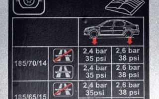 Давление в шинах автомобиля ларгус таблица
